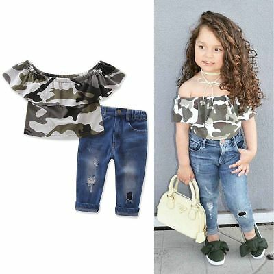 █2PCS Toddler Kids Baby Girls T-shirt Tops+Denim Pants Jeans Outfits Clothes Set