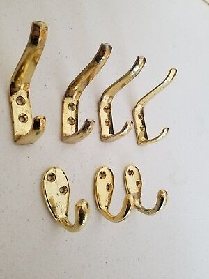 Mixed Lot of Coat and Hat Hooks Brass Metal 7 hooks, no screws. Large and small.