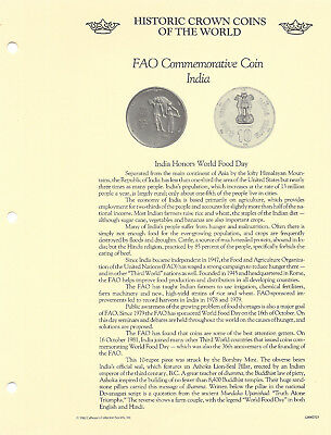 Historic Crown Coins of the World India 10 Rupees 1981 UNC World Food Day FAO