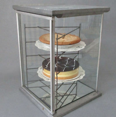 Antique Chrome + GLASS PIE Bakery Store DISPLAY Case 5 WIRE Shelves * TABLE TALK