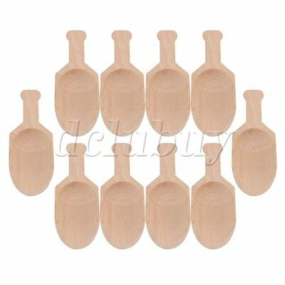 10Pieces Beech Wooden Scoops Spoon for Coffee Bath Salt Tool 7.7x3cm