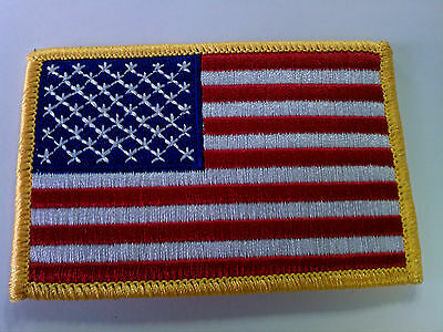 Embroidered Patch - American Flag - Iron On - Gold Border - US USA U.S. U.S.A.