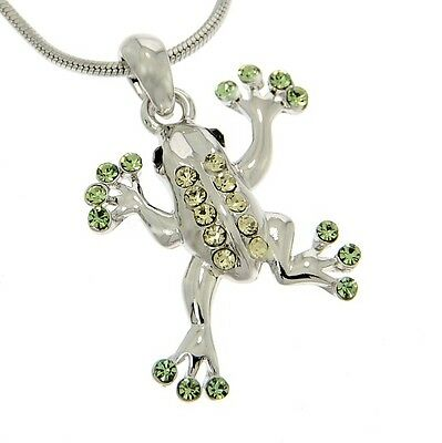 Frog Pendant Made With Swarovski Crystal Light Green Jungle Necklace Chain