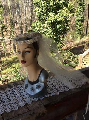 Vintage 1960's Bridal Wedding Veil ~ Double Floral Crown w Streaming Ribbons
