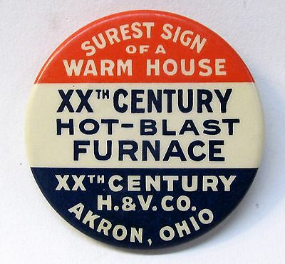 c.1910 XXth CENTURY HOT BLAST FURNACE H&V Akron OHIO celluloid pocket mirror *