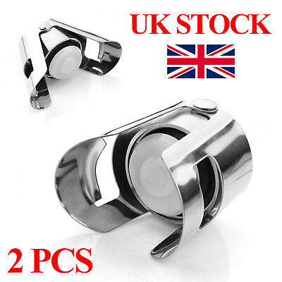 2PCS Stainless Steel Champagne Stopper Sparkling Wine Bottle Plug Sealer UK