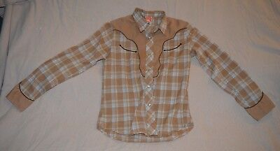 vtg ELY PLAINS western cowboy shirt smiley 11/12 MEN'S XS EXTRA SMALL pearl snap