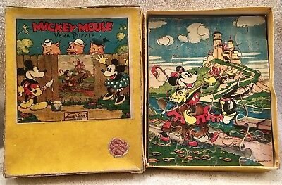 VINTAGE 1930s FRENCH DISNEY MICKEY MOUSE VERA PUZZLE IN ORIGINAL BOX