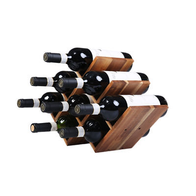 WINE RACK Luxurious Shelf Acacia Wood 8 Bottles Bottle Holder Storage Alcohol