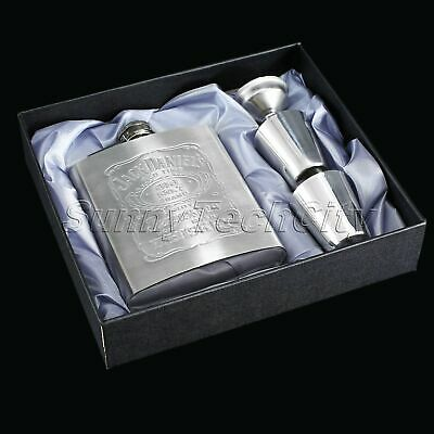 7oz Steel Liquor Hip Flask Whiskey Alcohol Wine Flagon Bottle & Funnel & Cup Kit