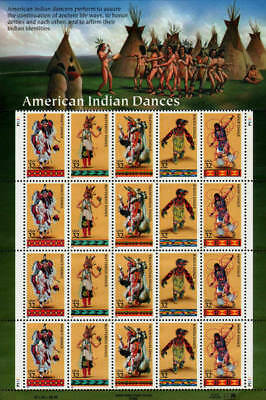 1996 32c American Indian Dances, Sheet of 20 Scott 3072-76 Mint F/VF NH