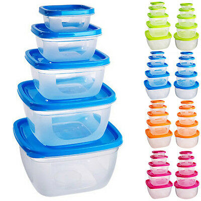 5PCS Glass Healthy Food Storage Box Containers Set With Lids Microwave Safe AU