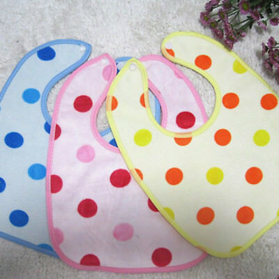 Baby Newborn Cartoon Dot Waterproof Bibs Saliva Burp Feeding Babador Toddler