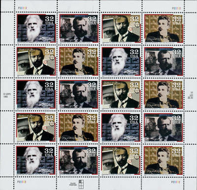 1996 32c Pioneers of Communication, Sheet of 20 Scott 3061-64 Mint F/VF NH