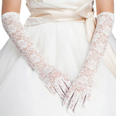 Premium Women's Long Lace Floral Wedding Party Bridal Gloves