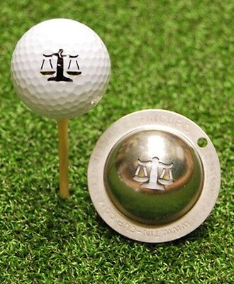 1 only TIN CUP GOLF BALL MARKER - LAWYER UP (SCALES OF JUSTICE)   EASY TO DO