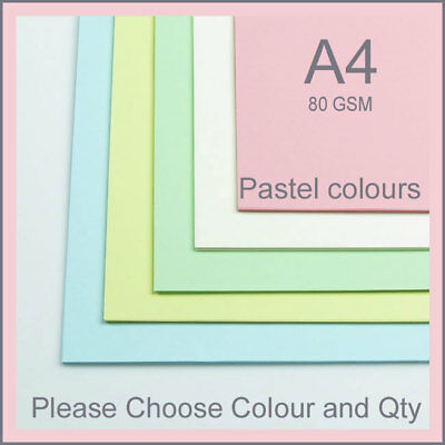 20-40 SHEETS 80gm A4 COLOURED PAPER   CHOICE OF 5 COLOURS , PASTELS COLOR