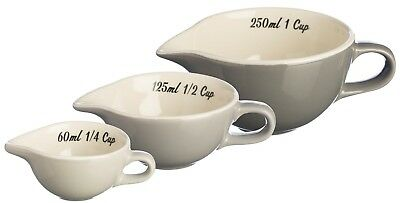 Mason Cash Measuring Cups with Spout Grey Bakeware Fine Stoneware Set Of 3