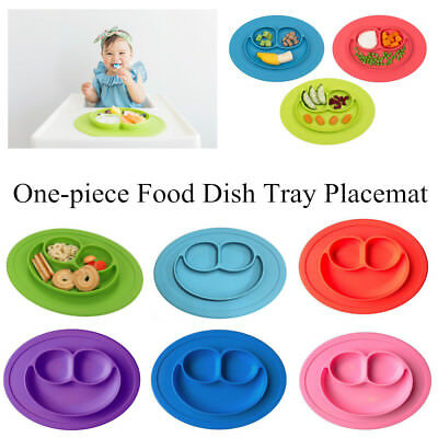Cute Kids Silicone Baby Placemat - Round No Slip With Built in Plate/Bowl/Tray