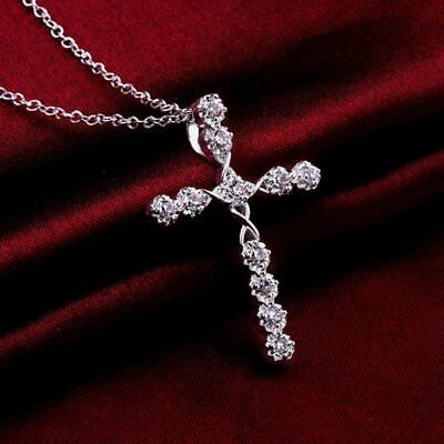 Women Silver Crystal Holy Jesus Cross Pendant Necklace Jewellery Party Gift New