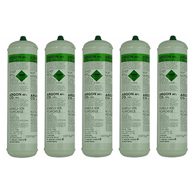 Disposable Argon/Co2 Gas Bottles For MIG Welding x 5 Cylinders