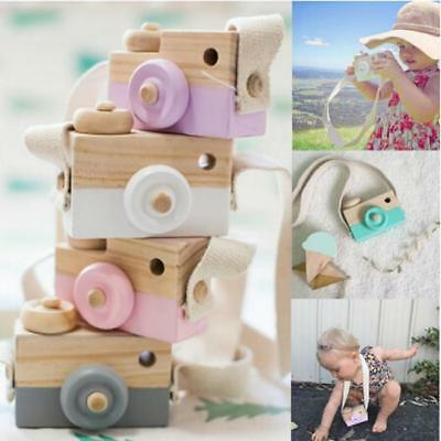 Natural Wood Wooden Camera Toy Neck Strap Baby Toddlers Children Playing Toys JA