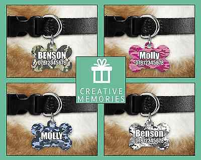 Custom Personalised Pet Dog Name ID Tag For Collar Pet Tags - Engraved - Camo
