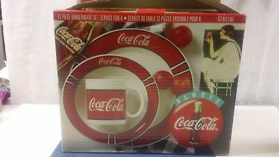 VTG Coca Cola Plate Bowl Mug Gibson 1996 Dinner Set 12 Piece Red/White For 4