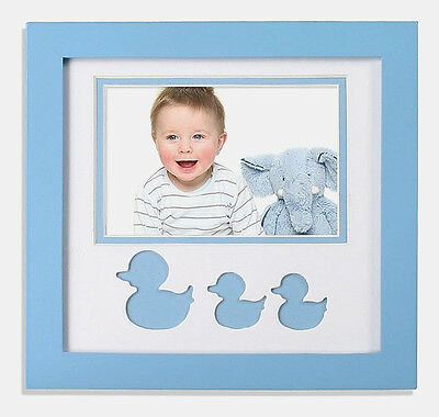 6 x 4 Baby Blue Baby Picture Frame, White Mat with Adorable Blue Ducky Cut Outs,