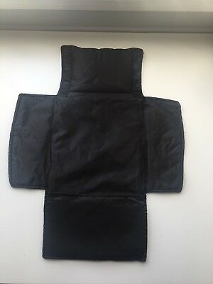 Baby Diaper Changing Pad, Foldable, Silky Head Cushion, Wipes Pocket, Black