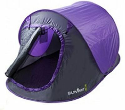 Summit Waterproof 2 Man Pop Up Outdoor Garden Camping Pitch Tent - Purple
