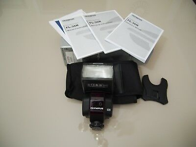 Olympus FL-36R Flash with Case, stand, and manuals