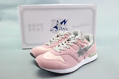New $212 Bape Sta Foot Soldier Pink/White Textile Sneakers Size 6