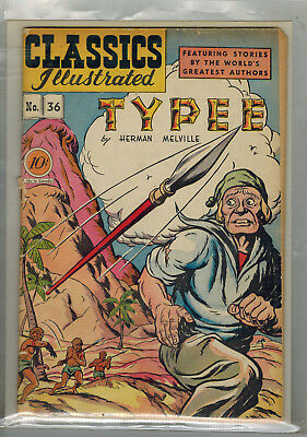 CLASSICS ILLUSTRATED COMIC No. 36 Typee - HRN 36 - 1st edition - 10c