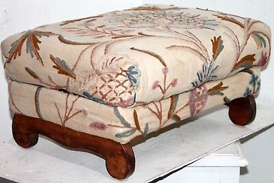 Vintage Lift-Top Plush Upholstered Ottoman Foot Stool W/ Needlepoint Accents.