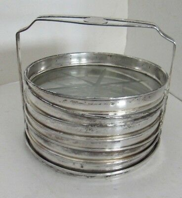 Vintage Webster sterling silver and glass;  set of 6 coasters and holder