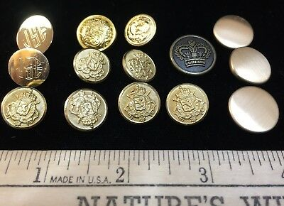 18  LOT OF 16 Vintage Metal Buttons