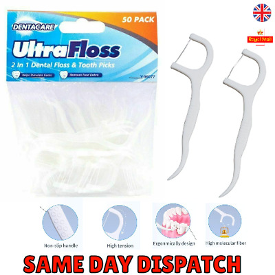 50 Dental Floss Sticks & Tooth Picks Teeth Plaque Remover Interdental 2 in 1 UK