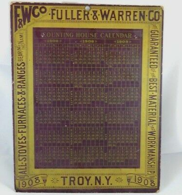Antique 1908 Advertising Counting House Calendar Fuller & Warren F&W Co Stoves