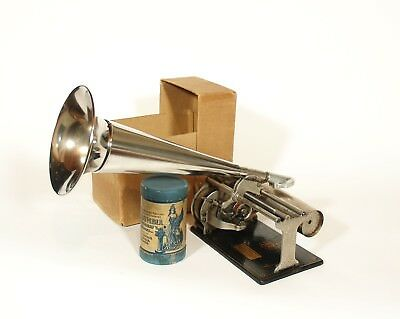 Near Mint In Box 1905 Columbia Q Cylinder Phonograph W Nickel Horn