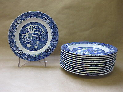 "12 Vintage Woods Ware Willow Plates ~ 6 3/4"" ~ 17 cm ~ Blue & White Willow"