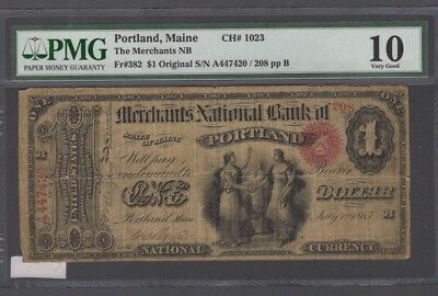 1865 $1.00 Merchants NB of Portland, Me., Ch. 1023, PMG VG 10-RARE!!