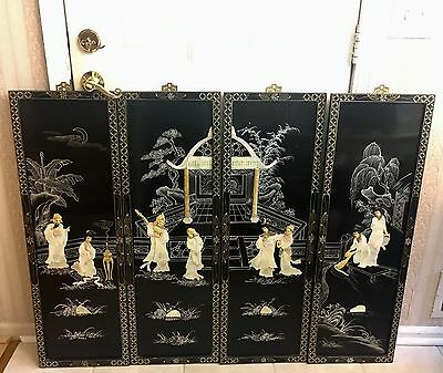 Vintage Asian Black Lacquer 4 Panel Mother of Pearl Wall Hanging Art Geisha