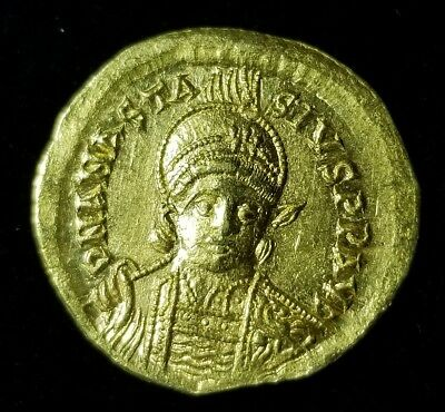 Anastasius 491 A.D. Byzantine Empire Gold Solidus Coin