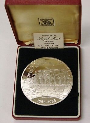 Falkland Islands 1985 Proof Silver 25 Pounds 100 Years Self Sufficiency -w/ Case