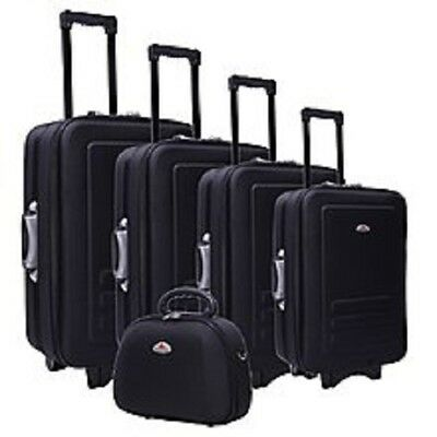 5PC SUITCASE TROLLEY TRAVEL BAG LUGGAGE SET Built-In Combination Padlocks BLACK