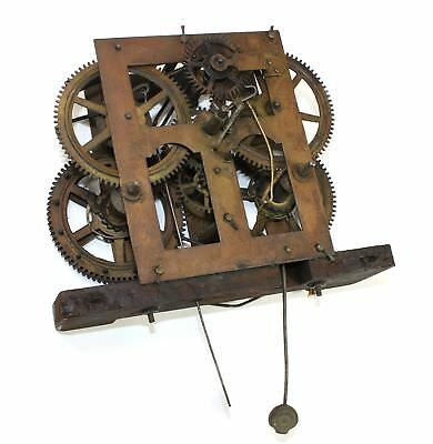 Antique Time And Strike Clock Movement - For Parts Or Repair - Mx10