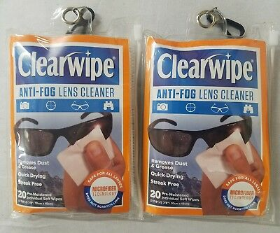 Clearwipe Anti-Fog Microfiber Quick Drying Lens Cleaner 20 Wipes 2 PACK = 40 Pcs