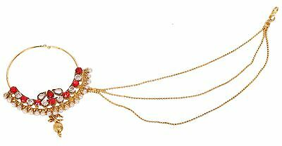 Gold Tone  Nose Ring Nath Wedding Jewelry Bridal Pearl Stone White Red Kunda CZ