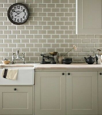 TILE SAMPLES London Bevelled Sage Green Gloss Metro Bathroom Tiles 10 X 20cm
